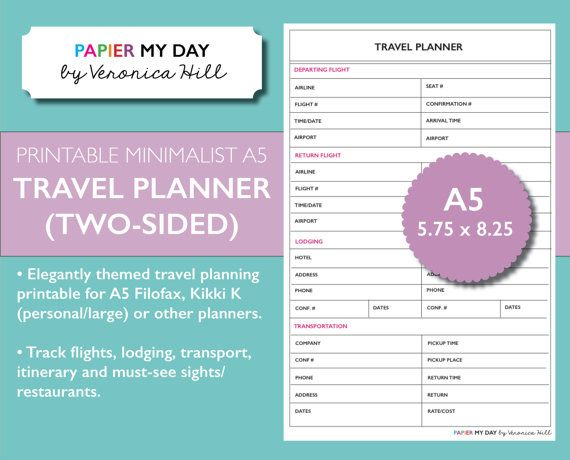 A5 Filofax Travel Planner - Minimalist Design - Also fits ...