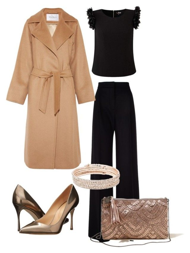 Shiny Gold by elf-islm on Polyvore featuring MaxMara, Sergio Rossi, Hollister Co. and Anne Klein