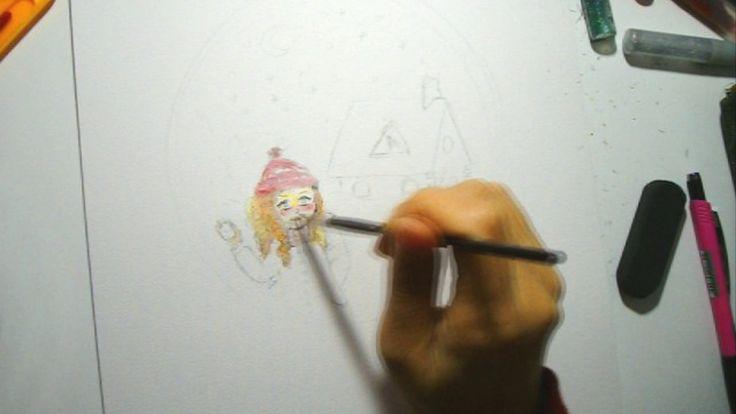 Kış kızı Suluboya çizimi