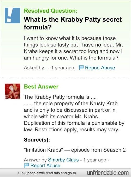 Real Krabby Patty Secret Formula The krabby patt...