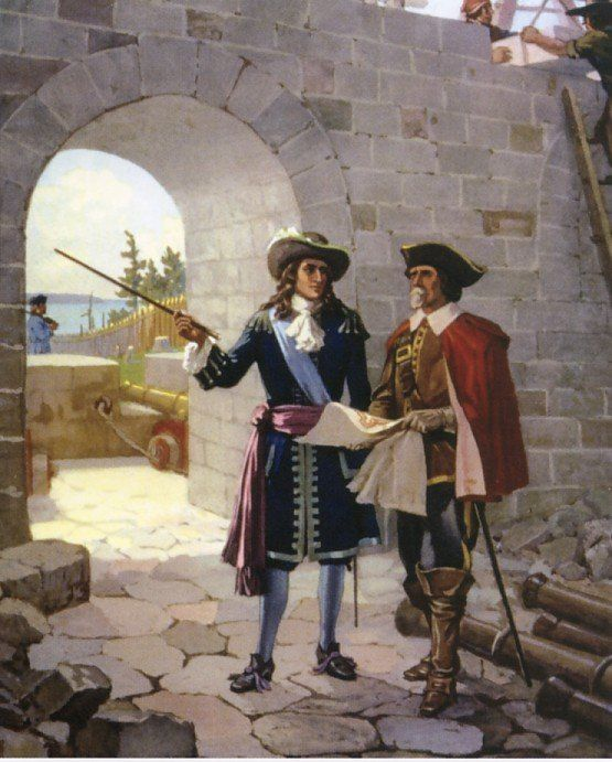 La Salle inspects Fort Frontenac under construction in 1673