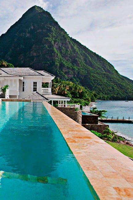 Soufrière, Saint Lucia  Experience tropical glamour with a view of Saint Lucia's iconic Pitons at the Rainforest Spa, which highlights elements from the island's volcanic springs and cocoa plantations.  Top treatment: The Poolside Chair Massage makes it easy to keep an eye on the kids, but the cardamom-spiked Bamboo Body Polisher is worth slipping away for.  viceroysugarbeach.com