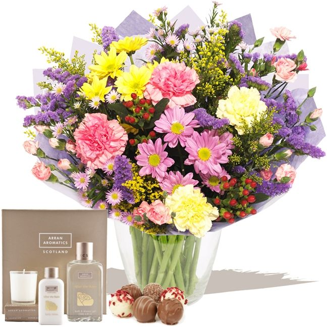 Flowers Gift Set 10  This Flowers Gift Set product is a wonderful combination a Beautiful Bright Mixed Hand-tied of fresh flowers, Petit Grandier Chocolates and Arran Aromatics Fragrances