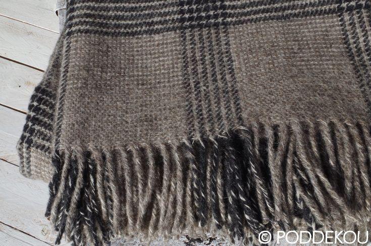 Ľanovo-vlnená deka sivá / Sivá károvaná deka z vlny a ľanu.