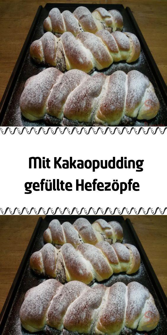 Hefetöpfe gefüllt mit Kakaopudding   – Dessert