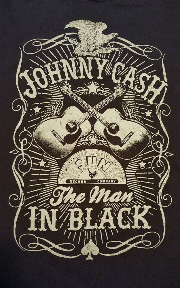JOHNNY CASH Sun Records The Man IN BLACK 2XL Distressed T-shirt Guitar Eagle #JohnnyCash #GraphicTee
