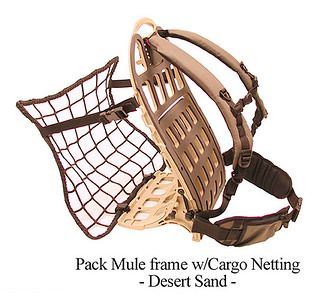Pack Mule frame w/Cargo Net--these frames are out of production now, unfortunately, but perhaps you can use the idea with the US Mil Ruck frame-- Improvise, Adapt, and Overcome