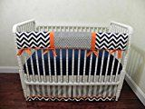 Nursery Bedding Bumperless Baby Crib Bedding Set Thomas Baby Boy Bedding Teething Rail Guard Baby Bedding in Navy Chevron and Gray Stripes with Orange Accents  Choose Your Pieces