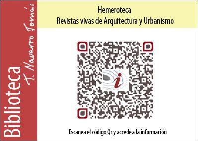 Hemeroteca: Código QR de acceso a la colección de revistas vivas de Arquitectura y Urbanismo, de la Biblioteca Tomás Navarro Tomás.