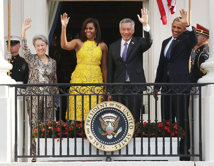 Michelle Obama Glows in a Sunny Yellow Dress at the White House from InStyle.com
