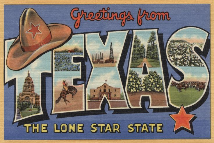 Texas - Greetings From The Lone Star State - Vintage Greeting Card