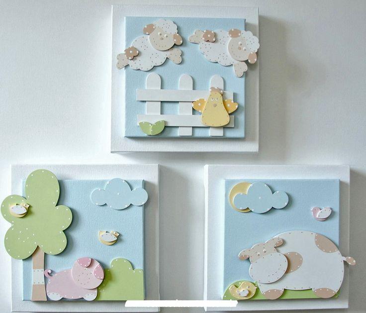 NURSERY ART PAPER PIECING MINI CANVASES - O+preço+se+refere+ao+conjunto+com+3+peças