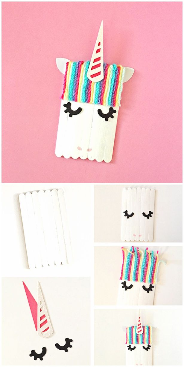 Unicorn Popsicle Stick Craft. Adorable friendship and love craft kids can make for Valentine's Day or any occasion!