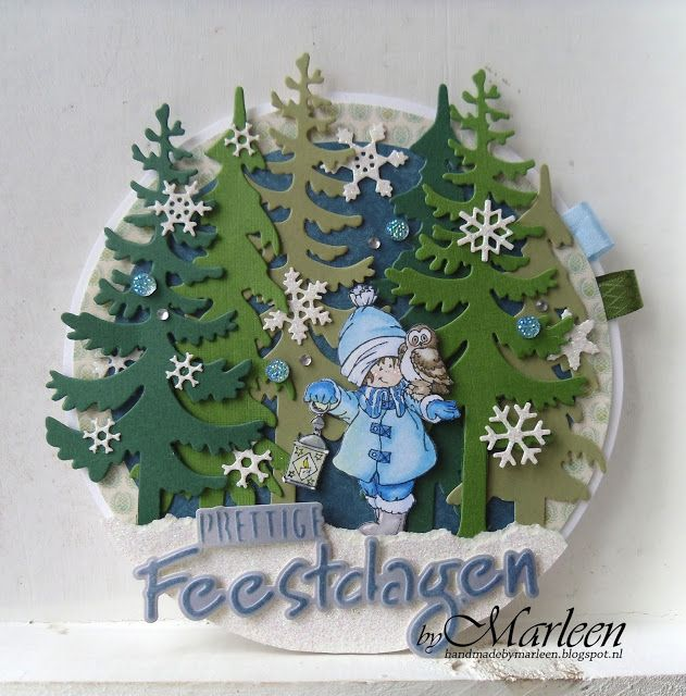 Card made by DT member Marleen with Clear Stamp Snoes & Owl (HM9475), Craftables Prettige Feestdagen (CR1326), Punch Die - Snowflakes (CR1335), Creatables Spar ( LR0378) and Den LR0379 by Marianne Design