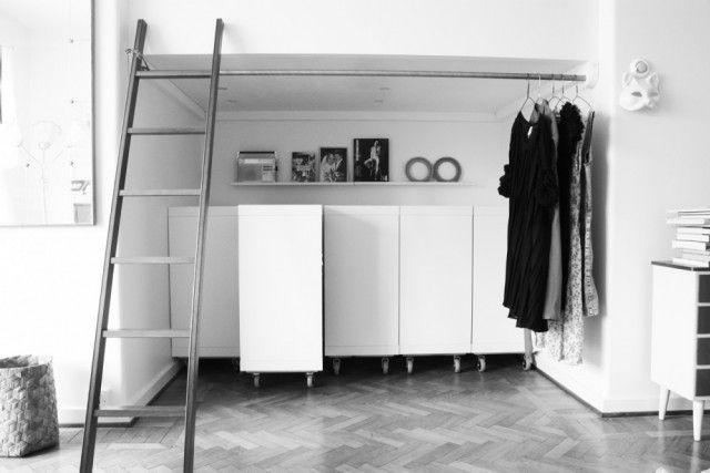 IKEA Expedit 2x2 bookshelves on wheels as a Genius storage idea