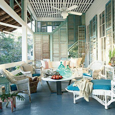 Love the shutter idea on one end of the porch.