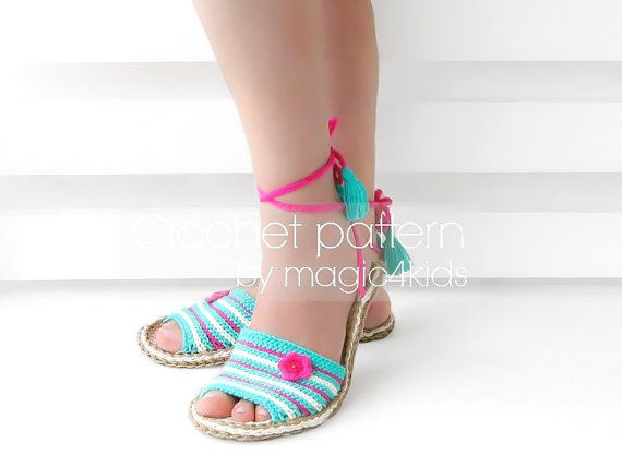 Crochet pattern-sandals with jute rope soleswomen by magic4kids