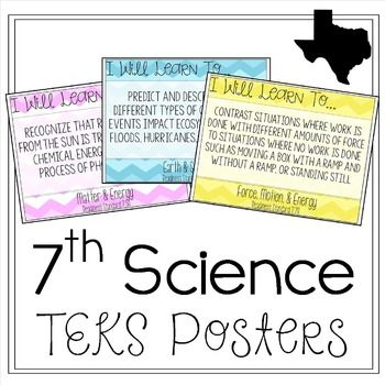 "This is a set of 31 posters of the Texas 7th Grade Science TEKS.All Seventh Grade Science TEKS are included (Readiness & Supporting).  Each 8.5""x11"" poster includes the reporting category, full wording of the TEK, whether it is a readiness or supporting standard, and the number/letter of the TEK.Please view the preview for an exact view of the posters.There are 3 different themes included:Black & WhiteChevronPolka DotThe 2 colored themes (chevron & polka dot) are organized by Repo..."