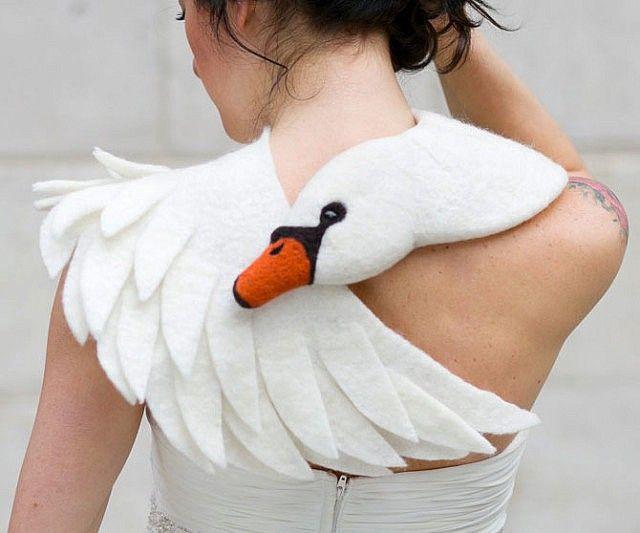 Felted Wool Swan Scarf