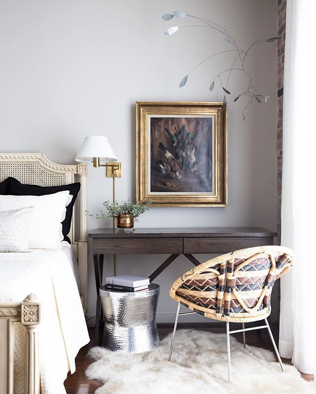 ... featured in a lovely showcase of bedroom lighting, storage, and  collected treasures. One of our favorite moments featuring a custom bedside  desk by