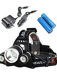 Headlamps+Bike+Lights+Headlight+LED+5000+Lumens+2x18650+4+Mode+3+X+Cree+XM-L+T6+Rechargeable+Waterproof+Camping/Hiking/Caving+Everyday+–+USD+$+79.98