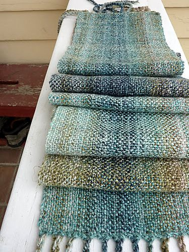 chenille scarf on a rigid heddle loom