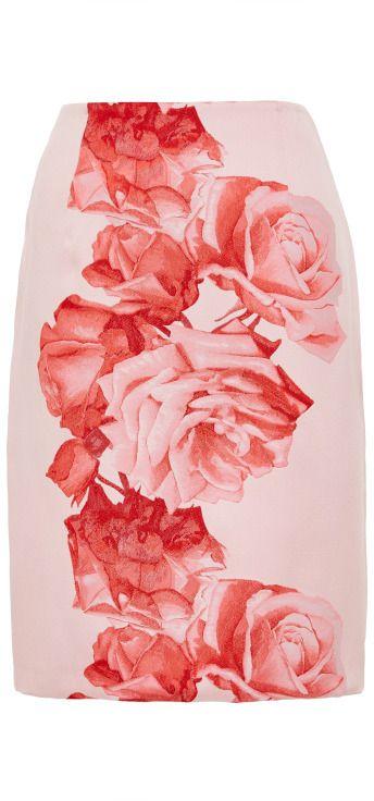 Giambattista Valli Floral-Brocade Satin Skirt Pink