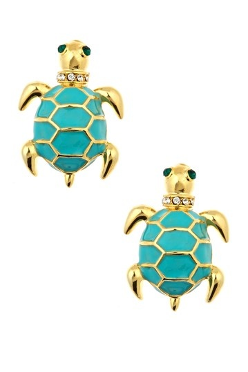 Blue Turtle Earrings.