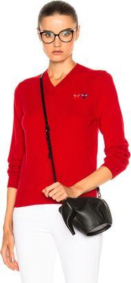 Shop Now - >  https://api.shopstyle.com/action/apiVisitRetailer?id=624449484&pid=uid6996-25233114-59 Comme Des Garcons PLAY Double Emblem V Neck Sweater  ...