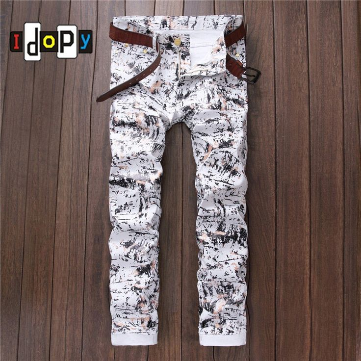 (27.52$)  Watch here - http://aith0.worlditems.win/all/product.php?id=32718262673 - 2016 New Fashion Mens Personality Printed Jeans Straight Washed Denim Pants For Men Slim Fit Stylish Jeans Joggers Trousers