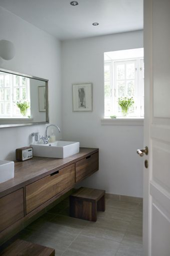 {white and wood rustic modern bathroom}