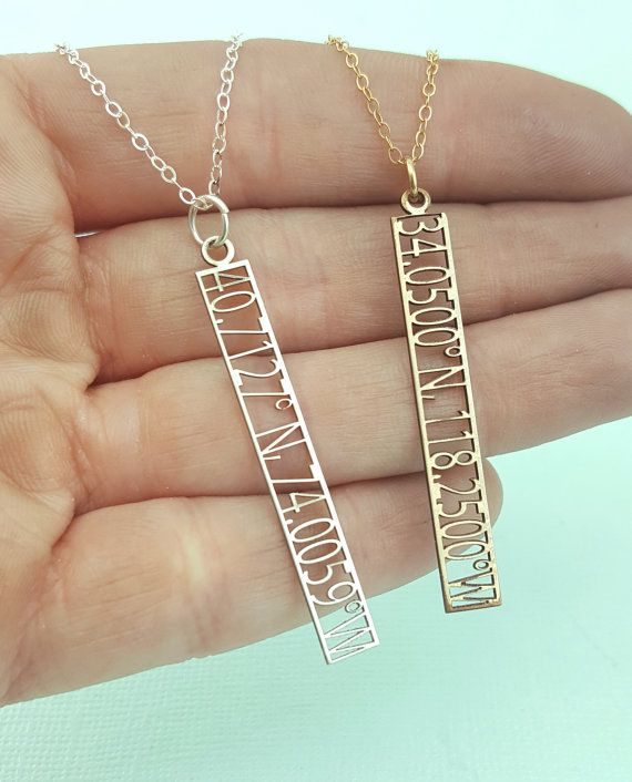 Custom Coordinates Jewelry - Coordinates Necklace - Cutout Latitude and Longitude Jewelry