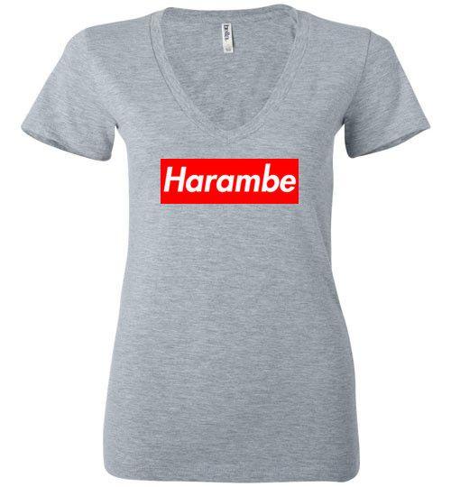 Harambe Supreme Bella Ladies Deep V-Neck Shirt