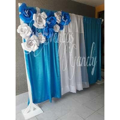 Backdrop cortinero fondo para mesa de dulces bases for Backdrop para mesa de dulces