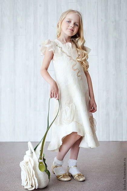 """Nunofelted dress / Одежда для девочек, ручной работы. Ярмарка Мастеров - ручная работа. Купить Платье валяное """"Настенька"""". Handmade. Валяное платье, нунофелтинг"""