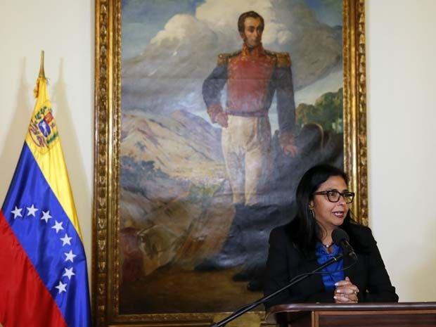 A ministra das Relações Exteriores da Venezuela, Delcy Rodríguez, fala à…
