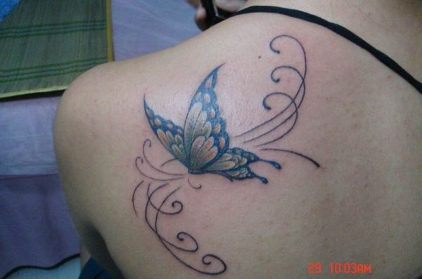 tattoos on shoulder blade for women | butterfly tattoo 25 Awesome Shoulder Blade Tattoos