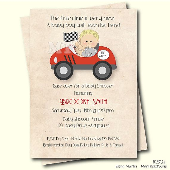 Race Car Baby Shower Invitation Retro Style Boy by MartinelaToons