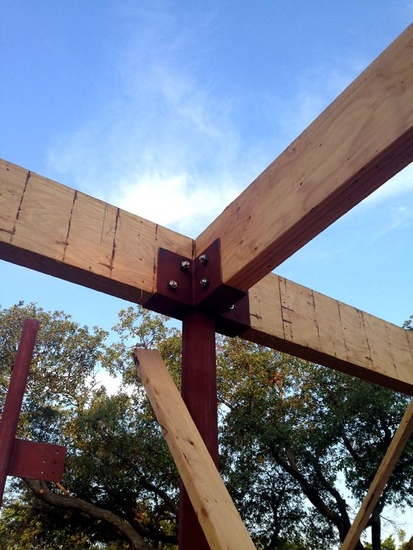 Wood And Steel Structure : Wood beams supported by steel post details pinterest