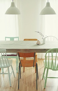 MøbelPøbelDining Area, Mintgreen, Dining Room, Mint Green, Dining Chairs, Interiors Design, Mixed Matching, Painting Chairs, Dining Tables