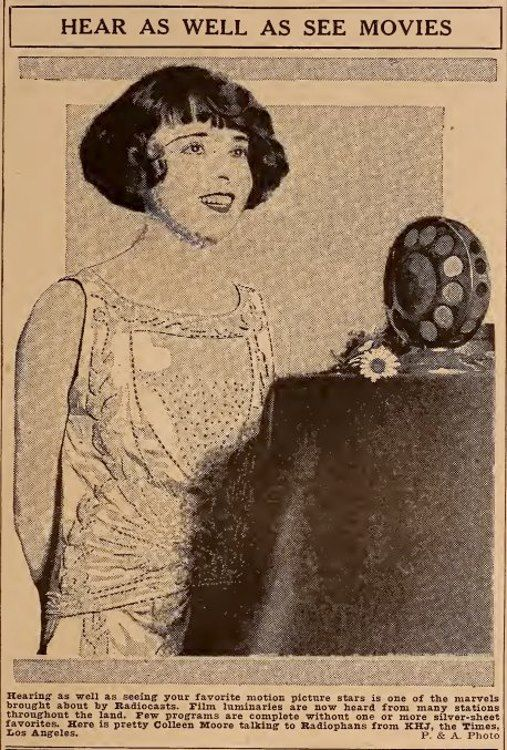 Colleen Moore radiocasts 1924