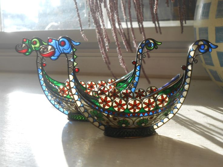 pair of Clement Berg plique a jour enamel silver viking longboat salts, early c.20th