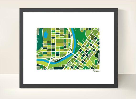 Mankato City Map - Original Illustration Print