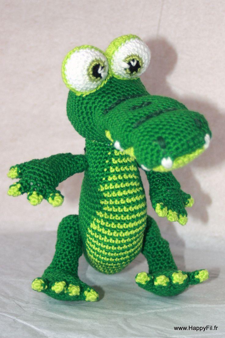 Doudou crocodile au crochet en coton : Jeux, peluches, doudous par happyfil