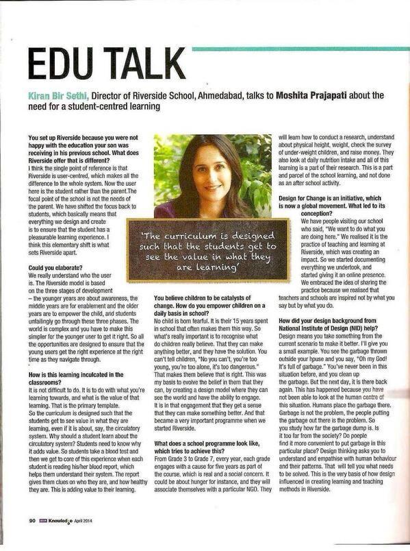 #Entrevista a  Kiran Bir Sethi: fundadora de la escuela Riverside. #entrevista#Kiranbir#sistema educativo