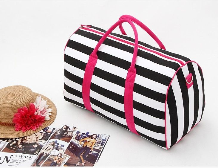 $18.86// Pink and Striped Weekend Bag// Delivery: 2-3 weeks