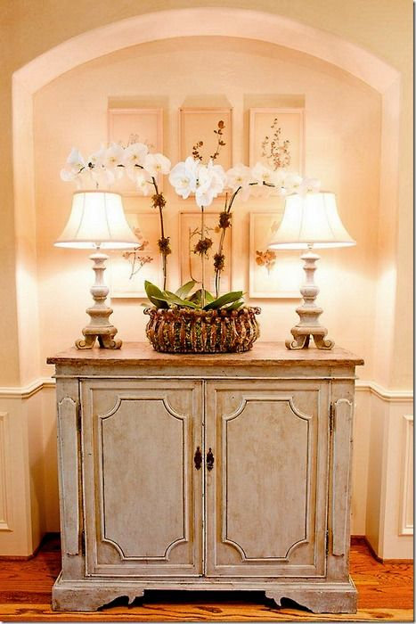 vignette: Entry Tables, Decor Ideas, Orchids, Paintings Finish, Paintings Colors, Cote De Texas, Vignette, Entry Hall, Entryway