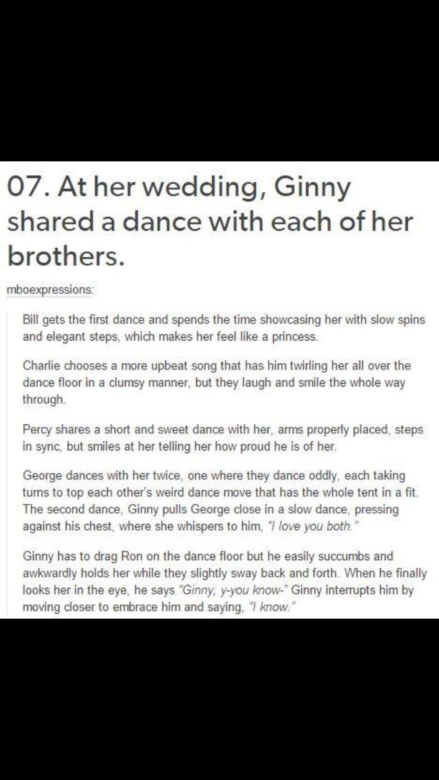 Ginny Weasley Dancing With her Brothers at her Wedding