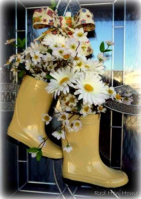 "Darling Spring Time ""Rain Boots"" Wreath for the Front Door...buy children's boots at a thrift or discount store and paint them a bright color, add flowers & a bow...instructions included by the Red Hen Home. This is my weekend project for my office door"