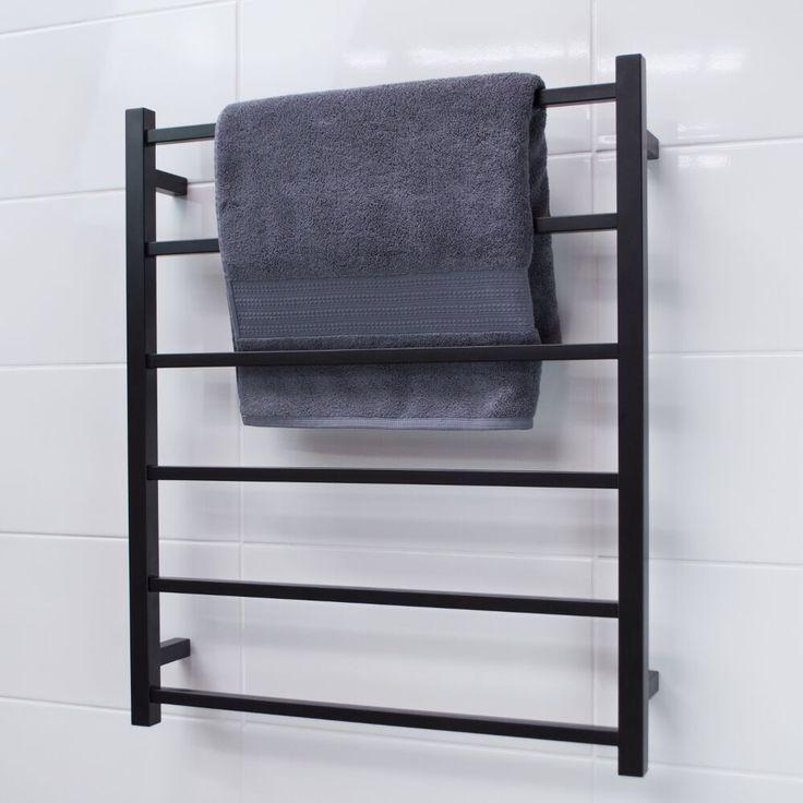 New mat black heated towel rails available for purchase.  info@elitehardware.com.au (03) 9429 1211